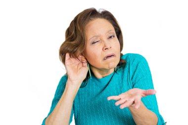 Hard of hearing senior mature woman