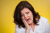 Woman with sensitive tooth ache — Stock Photo