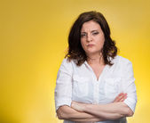 Pissed off angry grumpy pessimistic woman — Stock Photo