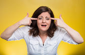 Angry mad middle aged woman — Stock Photo