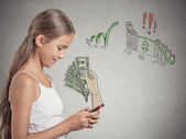 Girl working online on smart phone making earning money — Foto Stock