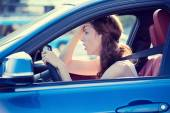Displeased stressed female car driver — Stock Photo