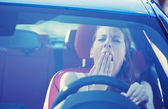 Sleepy tired woman driver — Foto Stock