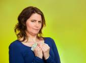 Greedy woman holding dollar banknotes — Stock Photo