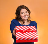 Christmas woman holding gift box  — Stock Photo