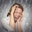 Stressed crying woman has many questions — Stock Photo #56117713
