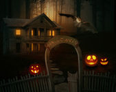 Scary creepy Jack O'Lantern in a spooky backyard of a farmhouse. — Foto de Stock