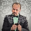 Business man busy sending messages emails from smart phone — Stock Photo #56598939