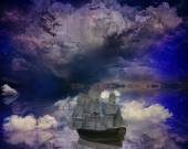 Vintage classic old sailboat on a dreamland surrealistic star skyline — Stock Photo