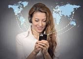Modern communication technology mobile phone high tech — Photo