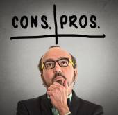 Pros and cons, for and against argument concep — Stock Photo