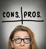 Pros and cons, for and against argument concept — Stock Photo
