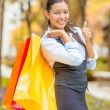 Shopping woman showing thumbs up — Stock Photo #57594725