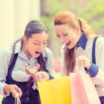 Happy, laughing young shopper women  — Stock Photo #57594773