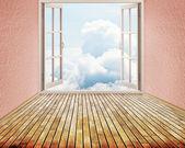 Room with open window — Stock Photo