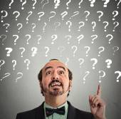 Man has idea solution answer to many questions — Stock Photo