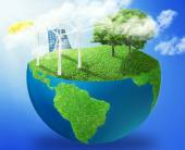 Green micro world earth covered with green grass wind energy turbines installed — 图库照片