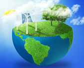 Green micro world earth covered with green grass wind energy turbines installed — Stock Photo
