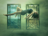Levitation portrait young woman in her house — Stock Photo