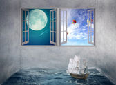Boat drifts in room with ocean water no course, windows with moon daylight sky — Stok fotoğraf