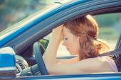 Stressed angry sad tired woman driving car annoyed by heavy traffic accident  — Stock Photo