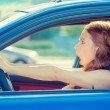 Fright face woman driving car wide open mouth eyes screaming — Stock Photo #60464383