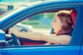 Fright face woman driving car wide open mouth eyes screaming — Stock Photo