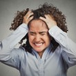 Frustrated stressed young woman having headache bad day — Stock Photo #62720289