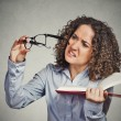 Woman can't see read book has vision problems wrong glasses  — Stock Photo #62720431