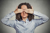 Woman closing covering eyes with hands can't look hiding avoiding situation  — Stock Photo