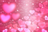 Wallpaper  to Valentine's Day with pink hearts and stars — Stock Photo