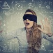 Blind businesswoman making plans — Stock Photo #64628081