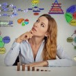 Businesswoman calculating risks of new project implementation — Stock Photo #64628227
