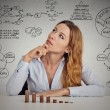 Businesswoman calculating risks of new project implementation — Stock Photo #64628309