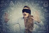 Blind businesswoman making plans — Stock Photo