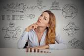 Businesswoman calculating risks of new project implementation — Stock Photo