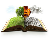 Ecology global warming concept. Landscape screen saver  — Stock Photo