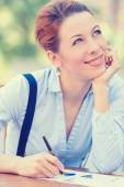 Happy woman daydreaming working outside corporate office on sunny day — Stock Photo