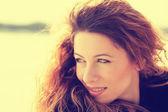 Headshot young cheerful beautiful woman outdoors  — Stock Photo