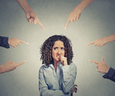 Social accusation guilty business woman fingers pointing — Stock Photo