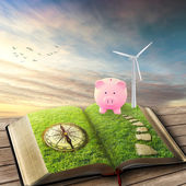 Wind Generators, Ecology savings piggy bank — Stock Photo