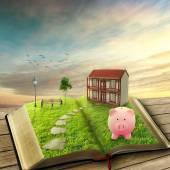 Home savings financial concept. Piggy bank magic book house  — Stock Photo