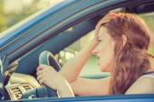 Young stressed angry pissed off woman driving car annoyed — Stock Photo