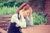 Portrait stressed sad young woman outdoors. Urban life style stress  — Stock Photo