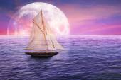 Classic old sailboat on moonlight view skyline sky light background — Stock Photo