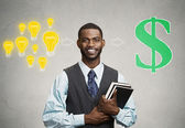 Man holding books has ideas ready for financial success — Stock Photo