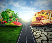 Diet concept nutrition choices dilemma healthy fruit or fast food — Stock Photo