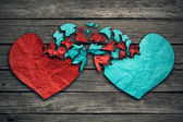 Romantic relationship concept two hearts exchange feelings — Stock Photo