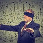 Portrait blindfolded elderly senior business man going through social media data — Stock Photo #80092734