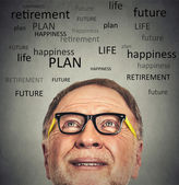 Portrait of Old Man with glasses looking up — Stock Photo